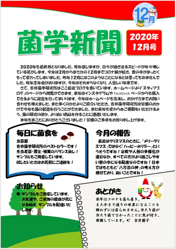 菌学新聞12月号公開しました☆彡